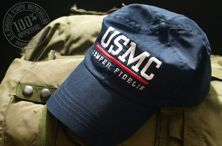 "cb1009259d Product Profile  USMC – SEMPER FIDELIS ""Blood Stripe"" Ball Cap ..."